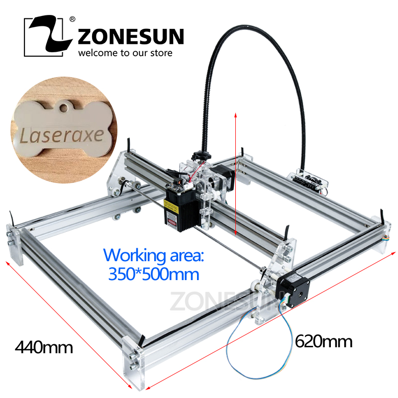Laseraxe 405nm 500mW DIY Desktop Mini Laser Engraver Engraving Machine Laser Cutter Etcher 35X50cm Adjustable Laser Power 1000mw diy desktop mini laser engraver engraving machine laser cutter etcher 50x65cm adjustable laser power