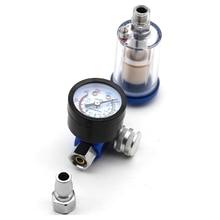 미니 공기 압력 조절기 알루미늄 합금 스프레이 건 압력 게이지 조절기 인라인 워터 트랩 필터 공압 공구