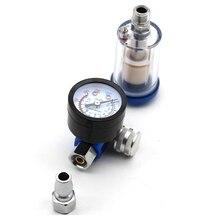 Mini Air Pressure Regulator Aluminum Alloy Spray Gun Pressure Gauge Regulator In Line Water Trap Filter Pneumatic Tools