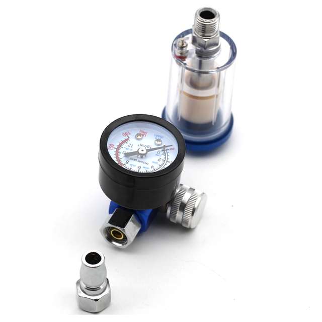 Mini Air Pressure Regulator Aluminum Alloy Spray Gun Pressure Gauge Regulator In Line Water Trap Filter Pneumatic Tools