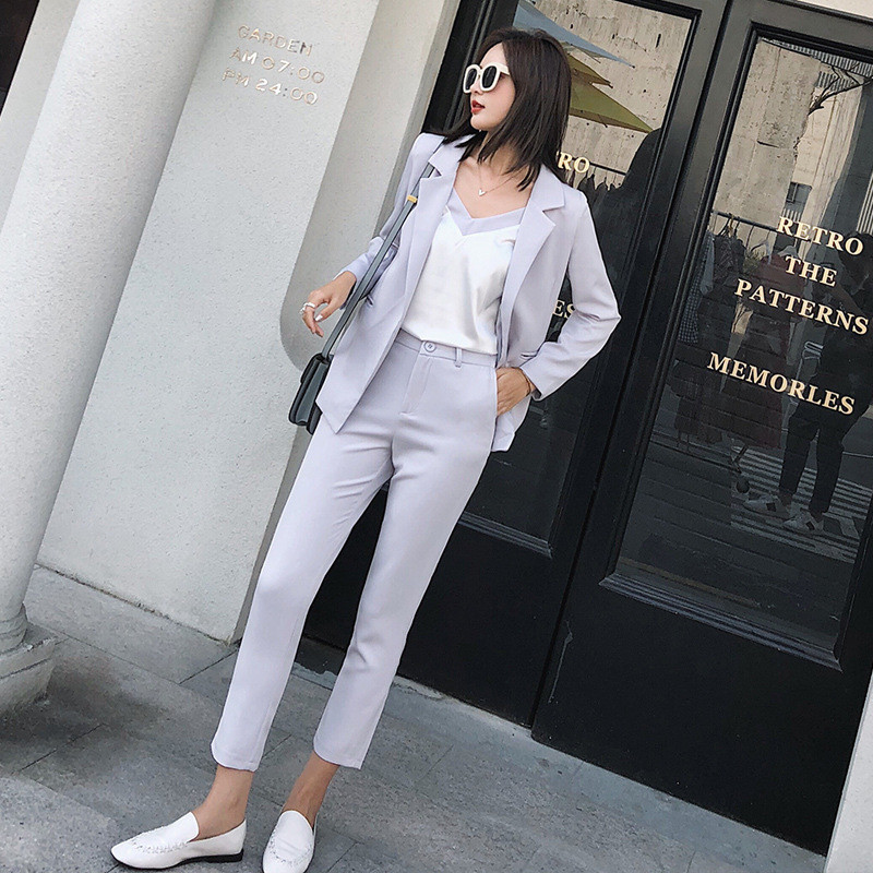 Custom Fashion Women's Women's Gray Casual Single Button Suit Two-piece Suit (jacket + Pants) Women's Business Formal Suit