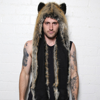 Faux Fur Hood Animal Hat Ear Flaps Hand Pockets 3in1 Animal Hood Hat Wolf Plush Warm Animal Cap with Scarf Gloves Free Shipping