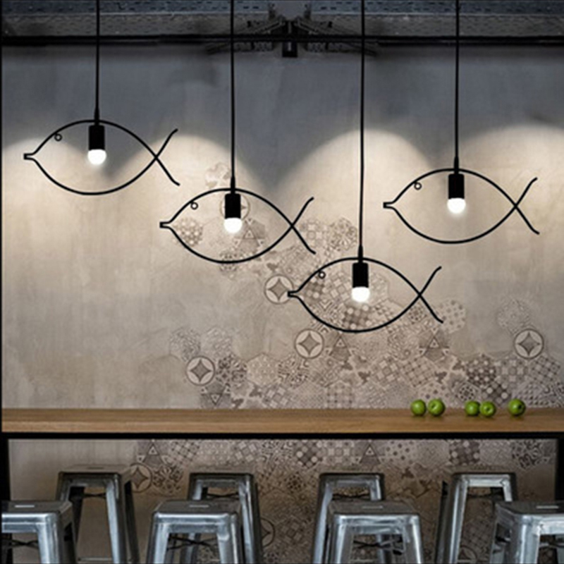 SINFULL Loft creative fish pendant lights iron bar exhibition black Living room suspension lighting restaurant luminaria lamps creative iron triangle pendant lights personality bar living room bedroom clothing store lighting pendant lamps za fg328