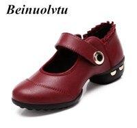 Chất lượng giày Khiêu Vũ Đỏ phụ nữ Mềm dưới da Jazz giày Cô Gái nhảy múa sneakers low gót giày nữ nhảy múa