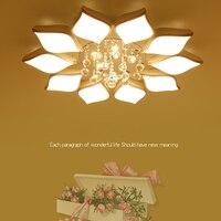 Светодиодная лампа потолка гостиной круглый кристалл лампы Лепесток Форма вентилятор света простой современная спальня лампы светодиодны