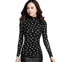 New Autumn Spring Elegant Blouse Tops Long Sleeve Turtleneck Polka Dot Blouses Womens Slim Shirt Tops