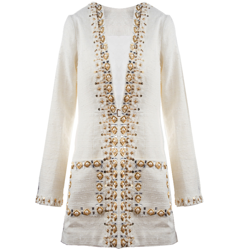 Série À Manteau Femmes Outwear 2018 Printemps Lady Du Main V Mince La Nouveau Automne Début Travail Bouton Office Au Perles Beige Fleurs Cou z1YTA174