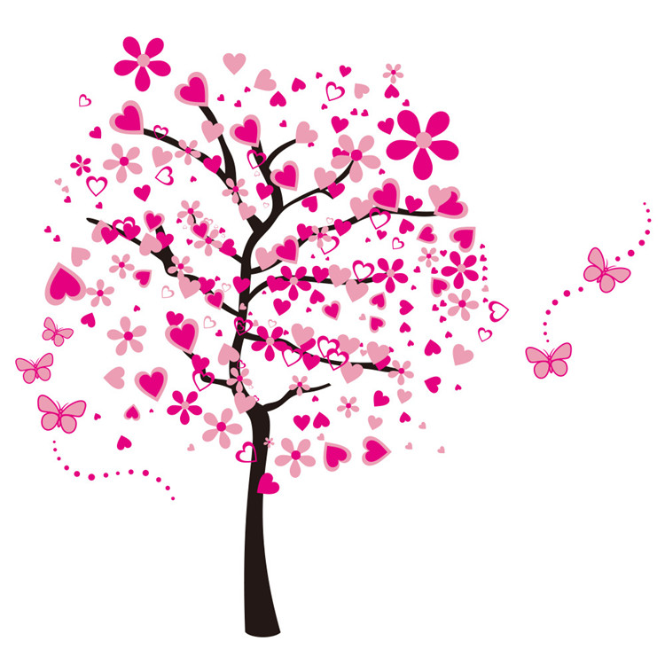 US $1617Family Tree Wall Decal Big Size Vinilo Decorative Living Room  Baby Wall Stickers Pink Flowers Background Baby Wall Stickers-in Wall