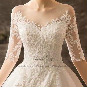 Image 5 - Amanda Projeto mariage vestido de Meia Manga Lace Appliqued Beading Vestido de Noiva