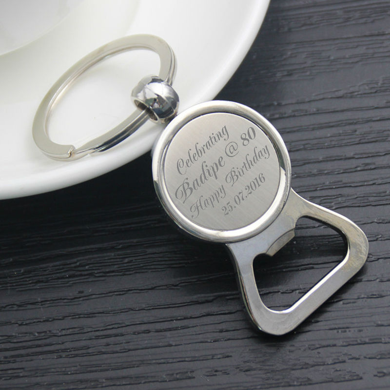 custom engraved metal bottle opener keyring keychain personalised wedding favour souvenir. Black Bedroom Furniture Sets. Home Design Ideas