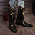 British Retro Stage Runway Shoes Men Boots Rivets Pointed Toe Knight Cowboy Boots Embroidered Mid Heels Autumn Winter Boots