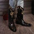 Stage Runway Retro britânico Sapatos Homens Botas Rebites Dedo Apontado Saltos Meados de Outono Inverno Botas de Cavaleiro Botas de Cowboy Bordado
