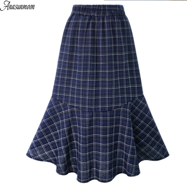 8e4d75022b057 Online Shop Plus Size Autumn Style Scottish Plaid Skirt Women Warm ...