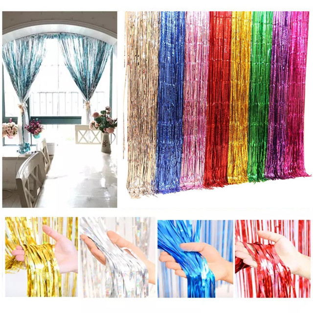 1*2M Gold Foil Fringe Curtain Door Curtains Tinsel Shining Party Photo Backdrop Wedding Birthday  sc 1 st  AliExpress.com & 1*2M Gold Foil Fringe Curtain Door Curtains Tinsel Shining Party ...