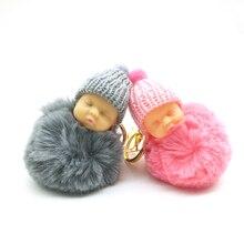 Pele De Coelho Bola Pompom ZOEBER Keychain Chaveiro Carro Do Brinquedo Do Bebê sono Do Bebê Boneca Chaveiro Mulheres Saco Chave Titular Pingente jóias
