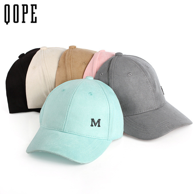 Candy color letterM Suede Baseball Cap Casual Sports Men Women Snapback Hat Gorra Hombre golf dad hat Solid Cappello Hip Hop Hat chic ice cream color suede baseball hat