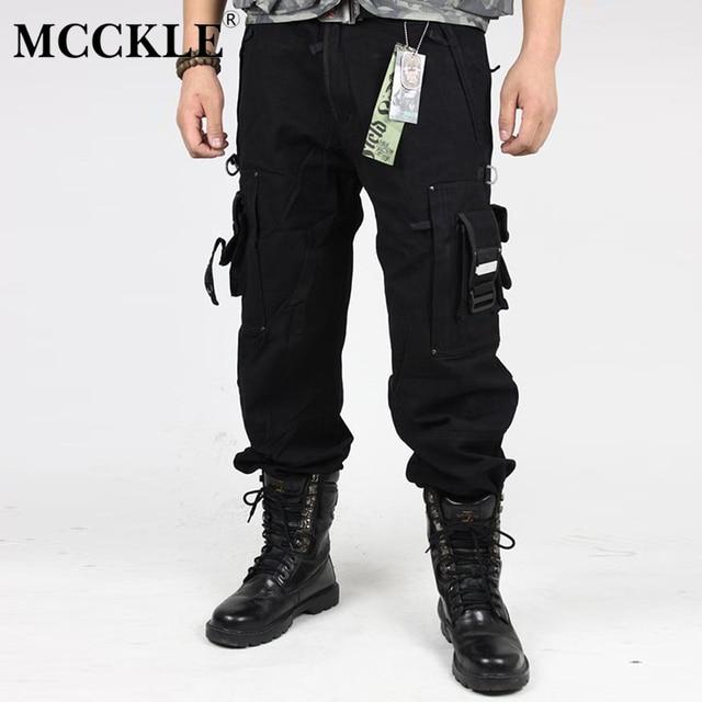 e2b7f8781 Mcckle hombres camuflaje Pantalones cargo Moda hombre Pantalones multi  bolsillos ejército negro verde ejército CAMO cargo