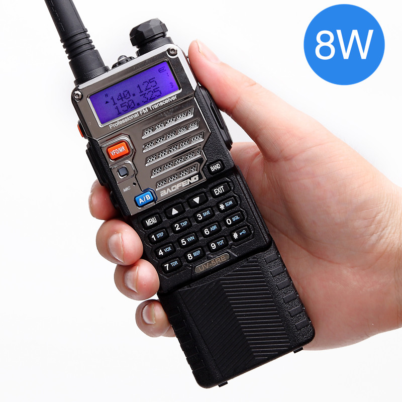 Baofeng UV-5RE 8 w Puissant Talkie Walkie Haute Puissance 3800 mah 10 km Uhf Vhf 8 Watts longue Portée Randonnée UV5RE CB Portable Ham Radio