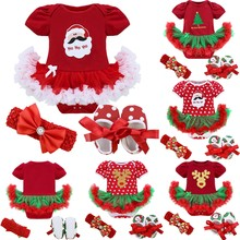 Xmas Baby Girl Infant 3pcs Sets Santa Clause Reindeer Tree Romper Tutu Skirt Dress/Jumpsuit Christmas Birthday Costume Vestidos(China)