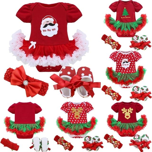 Xmas Baby Girl Infant 3pcs Sets Santa Clause Reindeer Tree Romper Tutu Skirt Dress/Jumpsuit Christmas  Birthday Costume Vestidos