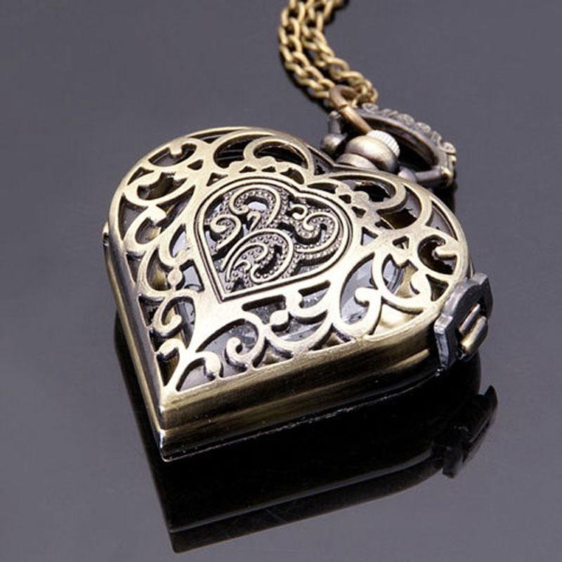 Antieke bronzen holle hart vorm zakhorloge vrouwen horloges mannen - Zakhorloge - Foto 3