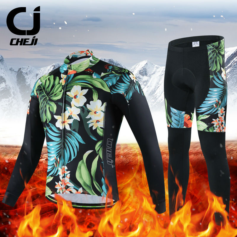 Hot Selling Winter Cycling Jersey Set Cheji Mens High Quality Fleece Pro Cycling Uniforms Thermal Bike Clothes Cycling Clothing 176 hot cycling jerseys magnolia flowers hot cycling jersey 2017s anti pilling female adequate quality sleeve cycling clothing f
