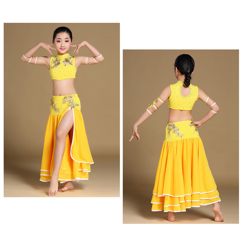 624db991f042ee KID s belly dance costumes Beads Blouse+one side slit Long Skirt+arm bands  4pcs full set Girl s Performance Dancewear CZ010-in Belly Dancing from  Novelty ...