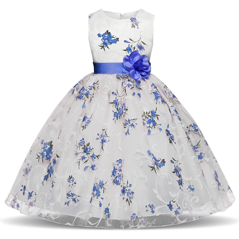 Summer Flower Girls Dresses For Weddings Party Fancy Children's Princess Costume For Girl Birthday Outfits Kids Ceremonies Dress girls dresses trolls poppy cosplay costume dress for girl poppy dress streetwear halloween clothes kids fancy dresses trolls wig