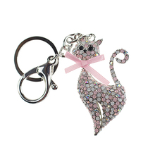 Crystal Rhinestone Key Ring Metal Cat Keychain Souvenir Gifts Couple Key Chain Novelty Hangbag Charms Pendant Portachiavi