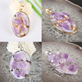 39X28MM Charming Natural Amethyst Irregular Bead Gold Plated/Silver Plated Pendant 1PCS