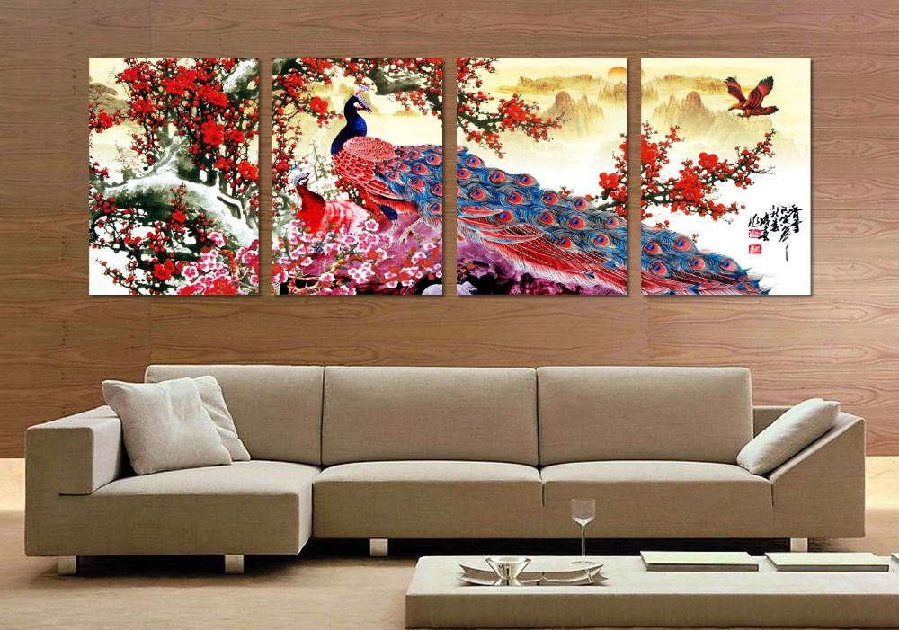4 Pieces Long Tail Peacock Animal Traditional Chinese Style Flower Bird Canvas Oil Painting Wall Art Picture Home Decal-in Painting u0026 Calligraphy from Home ... & 4 Pieces Long Tail Peacock Animal Traditional Chinese Style Flower ...