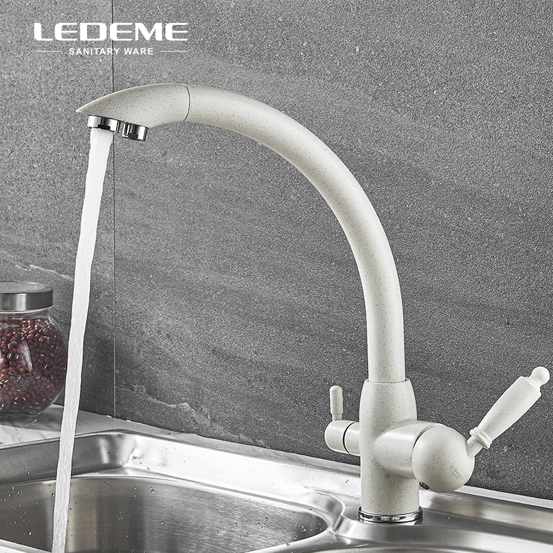 Ledeme Khaki Filter Kitchen Basin Faucet With Drinking Water Sprayer