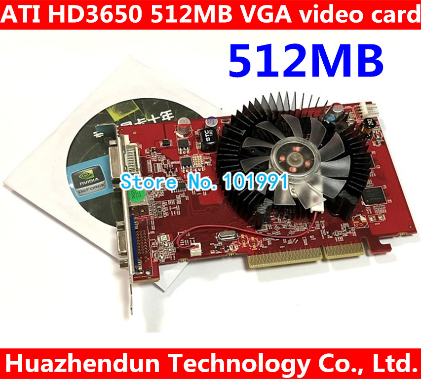 NEW original ATI HD3650 AGP 512MB DDR2 AGP 8x video graphic card with CD