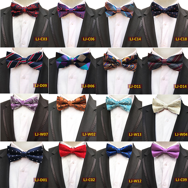 Mens Self Bow Tie Classic Paisley Woven Silk Bow Ties Various Colors