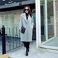 Ladies Fashion Coat 2016 Red Winter Wool Coat Single Button Loose Outerwear Turn Down Collar Long Women's Wool Coats  YY88