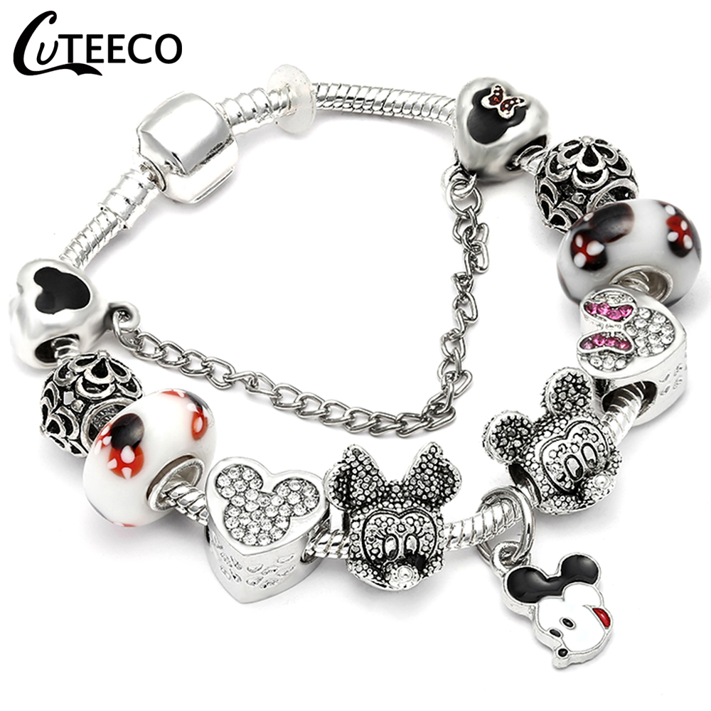 HTB1uBvyXVzsK1Rjy1Xbq6xOaFXa3 - CUTEECO Antique Silver Color Bracelets & Bangles For Women Crystal Flower Fairy Bead Charm Bracelet Jewellery Pulseras Mujer