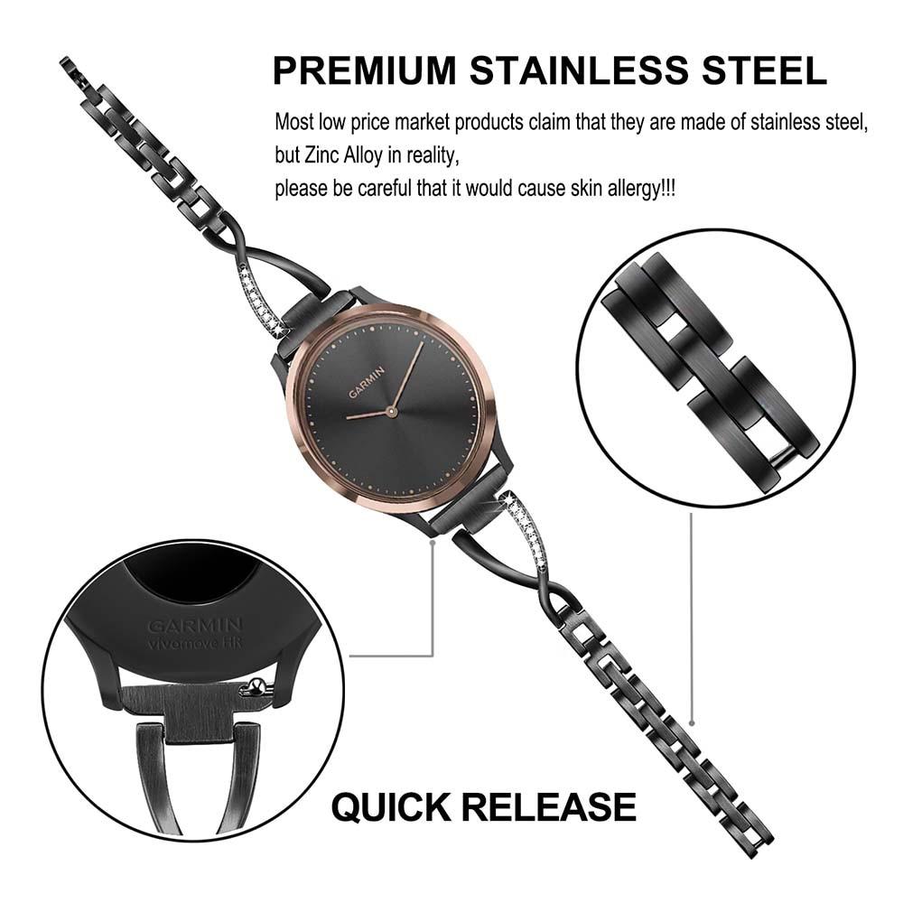Image 2 - Stainless Steel + Diamond Watchband for Garmin Vivomove / Vivomove HR Sport Premium Watch Band Women Strap Wrist Belt Bracelet-in Watchbands from Watches