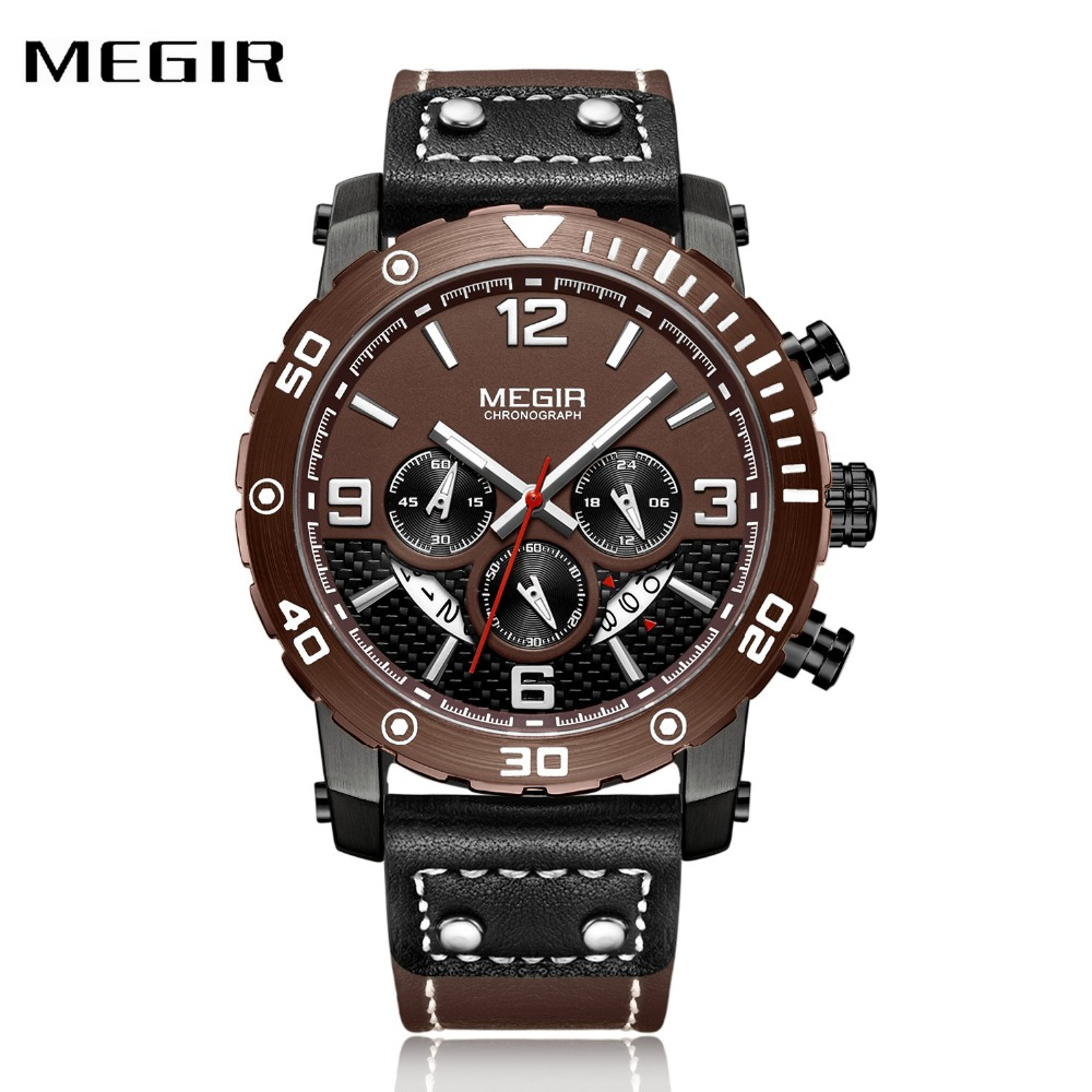 MEGIR Military Sport Men Watches Creative Leather Strap Chronograph Calendar Dial Top Brand Fashion Men Quartz Wrist Watches