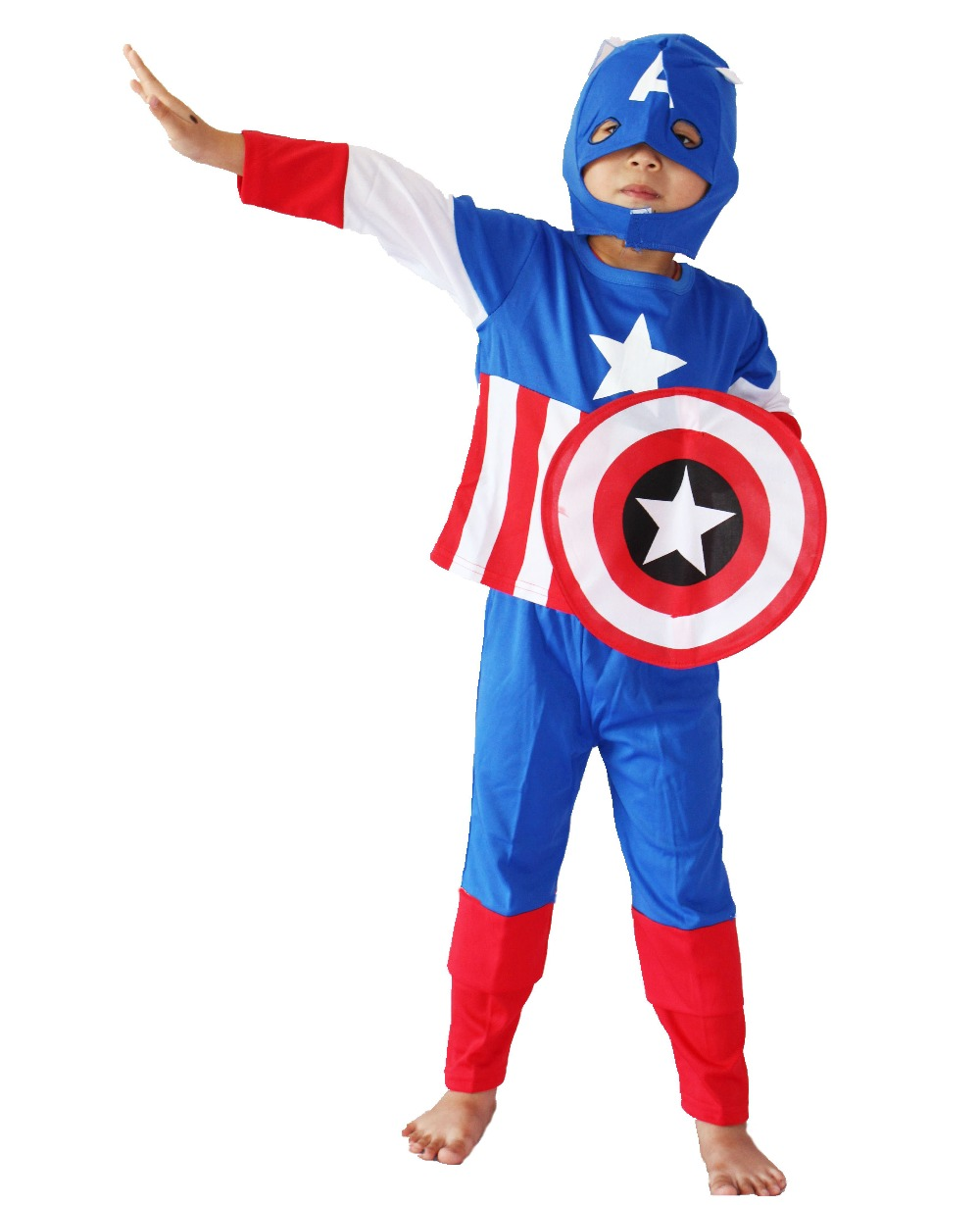 Մեծածախ / մանրածախ 3 - 7 տարի Հելոուին երեկույթների զգեստներ Մանկական մոդելային հագուստ, երեխա Կապիտան Ամերիկա դերասանի հագուստ Ghost