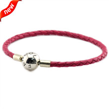 Rose Leather Bracelets and Necklaces for Women DIY Jewelry Making Fits European Charm Beads 100% 925 Sterling Silver Round Clasp dark blue leather bracelets and necklaces for women jewelry making fits european bead charm 925 sterling silver starry sky clasp