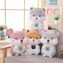 New 1pc 25-45cm Tea Cup Cat Rat Plush Pillows Soft Stuffed Animals Cushion Sofa Decor Cartoon Toys For Children Kids Gift
