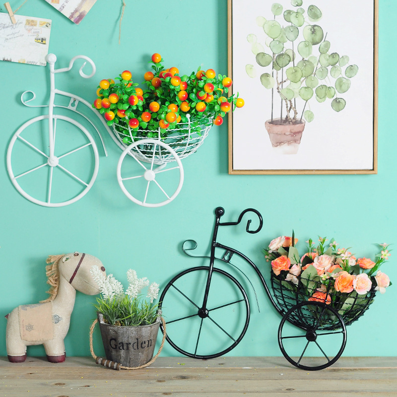 Wrought Iron Bicycle Wall Hanging Flower Storage Rack ... on Decorative Wall Sconces For Flowers Hanging Baskets Delivery id=72181