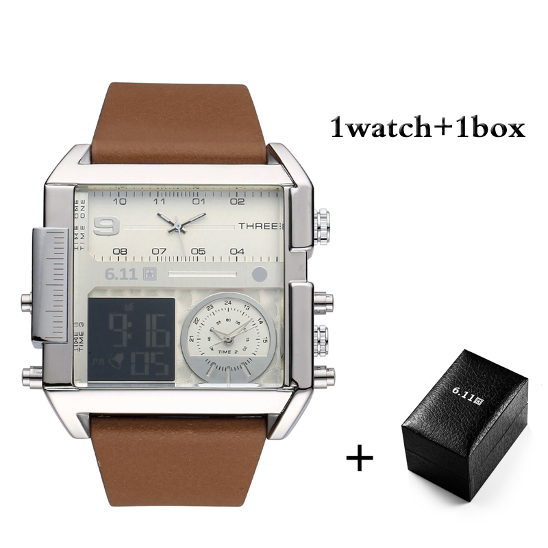 6.11 Luxury Brand Mens Square Watches Fashion Multiple time Watch 30M Waterproof LED Digital Men Sport with Box