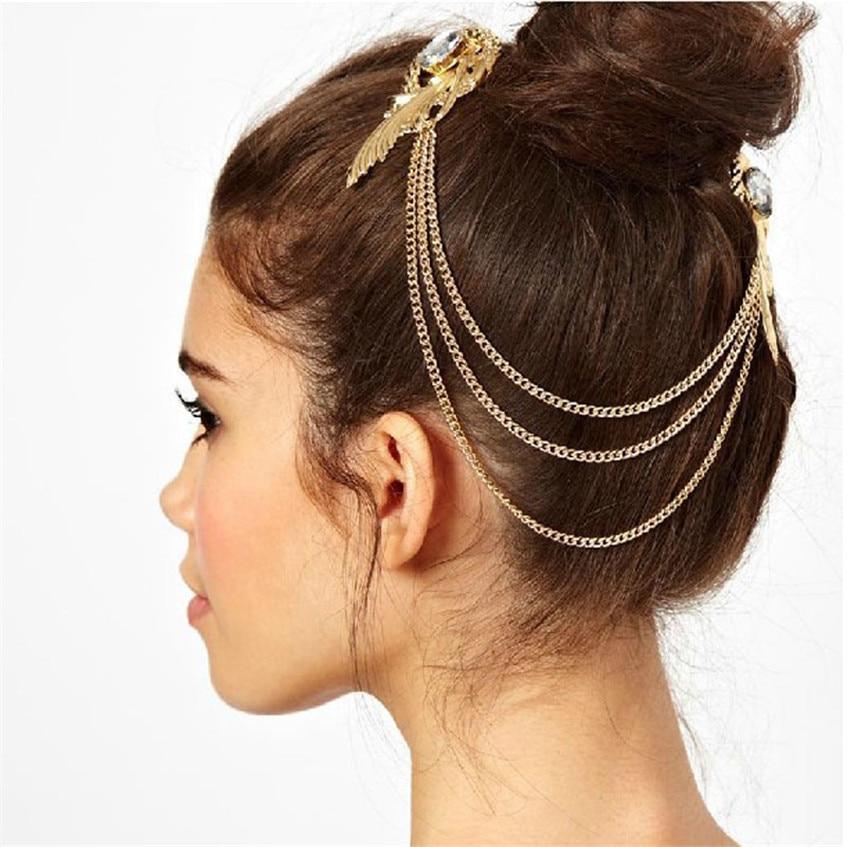 SIF Retro Gold Gem Diamond Angel Feather Tassels Side Clip Hair Band Hairpin APR 18