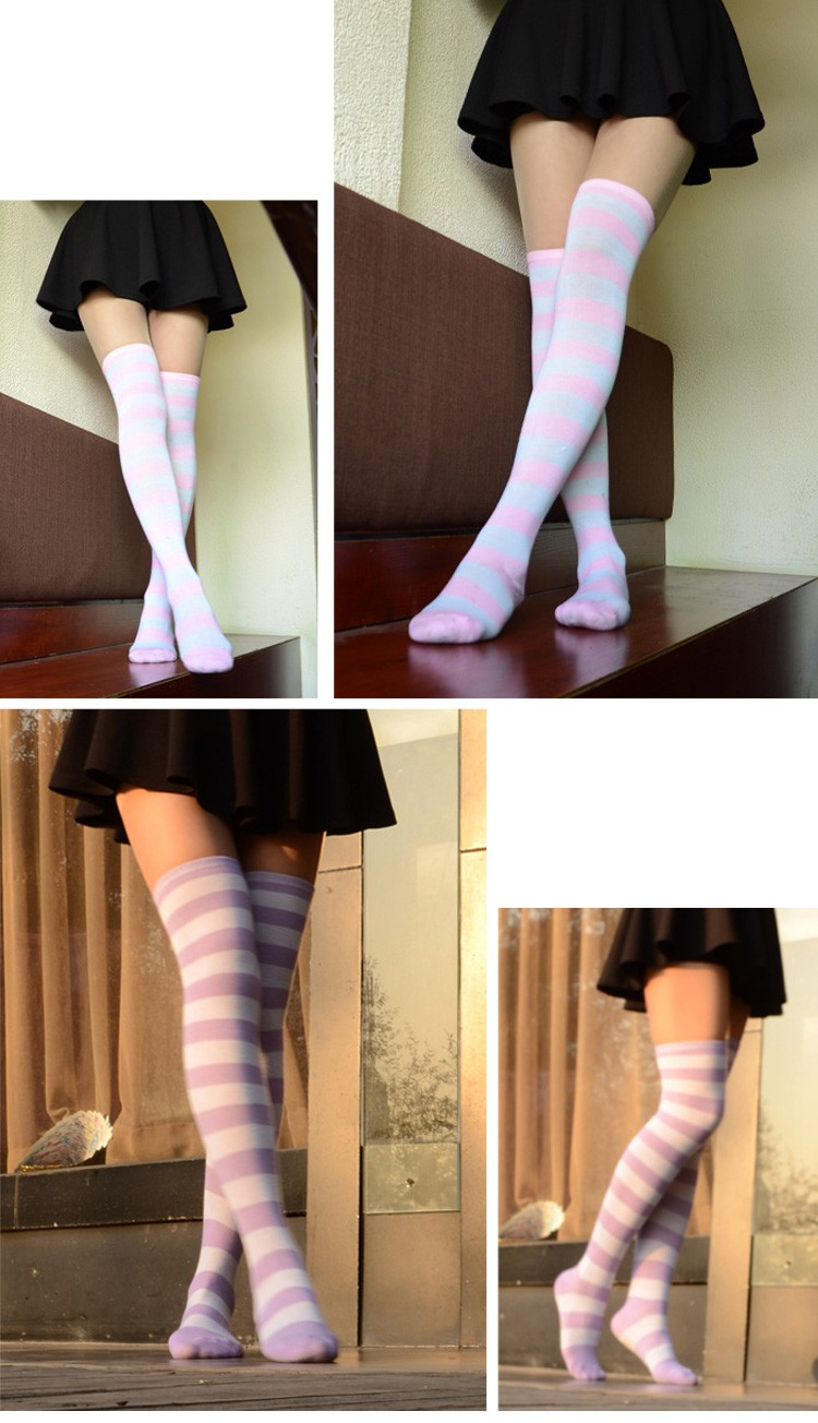 4eefd6333 Hot New Sexy Women Girl Striped Cotton Thigh High Stocking Over the ...