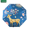 Flowers Elk Original Design Art Women S Umbrella Oil Painting 3 Folding Parasol Lady Portable Girl
