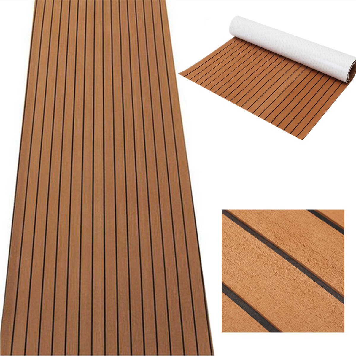 Image 3 - 120cmx240cmx5mm Self Adhesive EVA Foam Faux Teak Sheet Boat Yacht Synthetic Teak Decking Brown and Black Wholesale-in RV Parts & Accessories from Automobiles & Motorcycles
