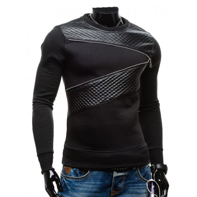 Mens leather patchwork hoodies with zipper decoration