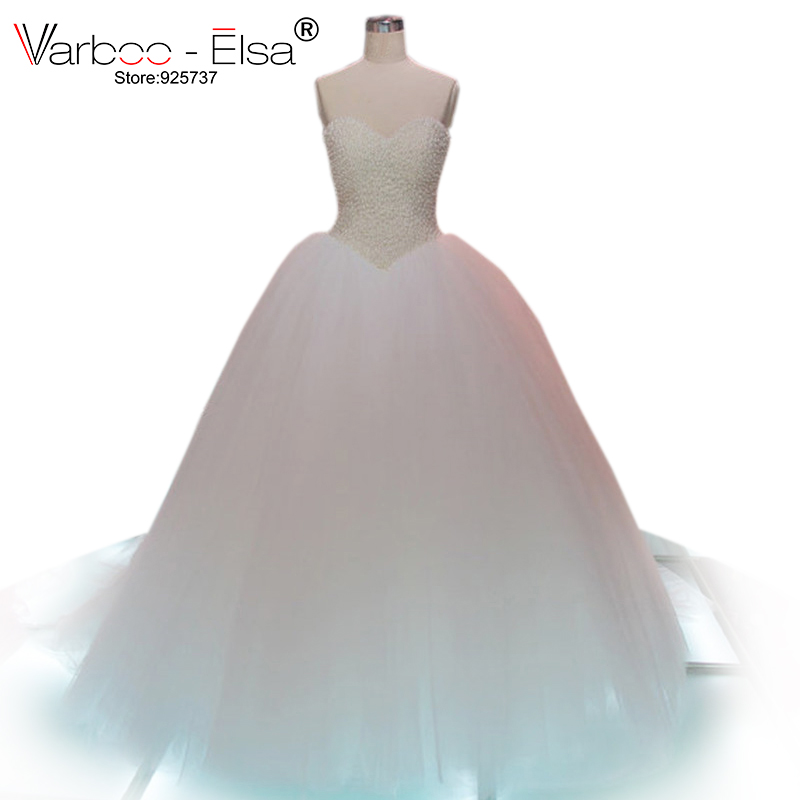 Robe De Mariee Bling Puffy Tulle Ball Gown Wedding Dress Sweetheart Luxurious Pearls Chapel Train White