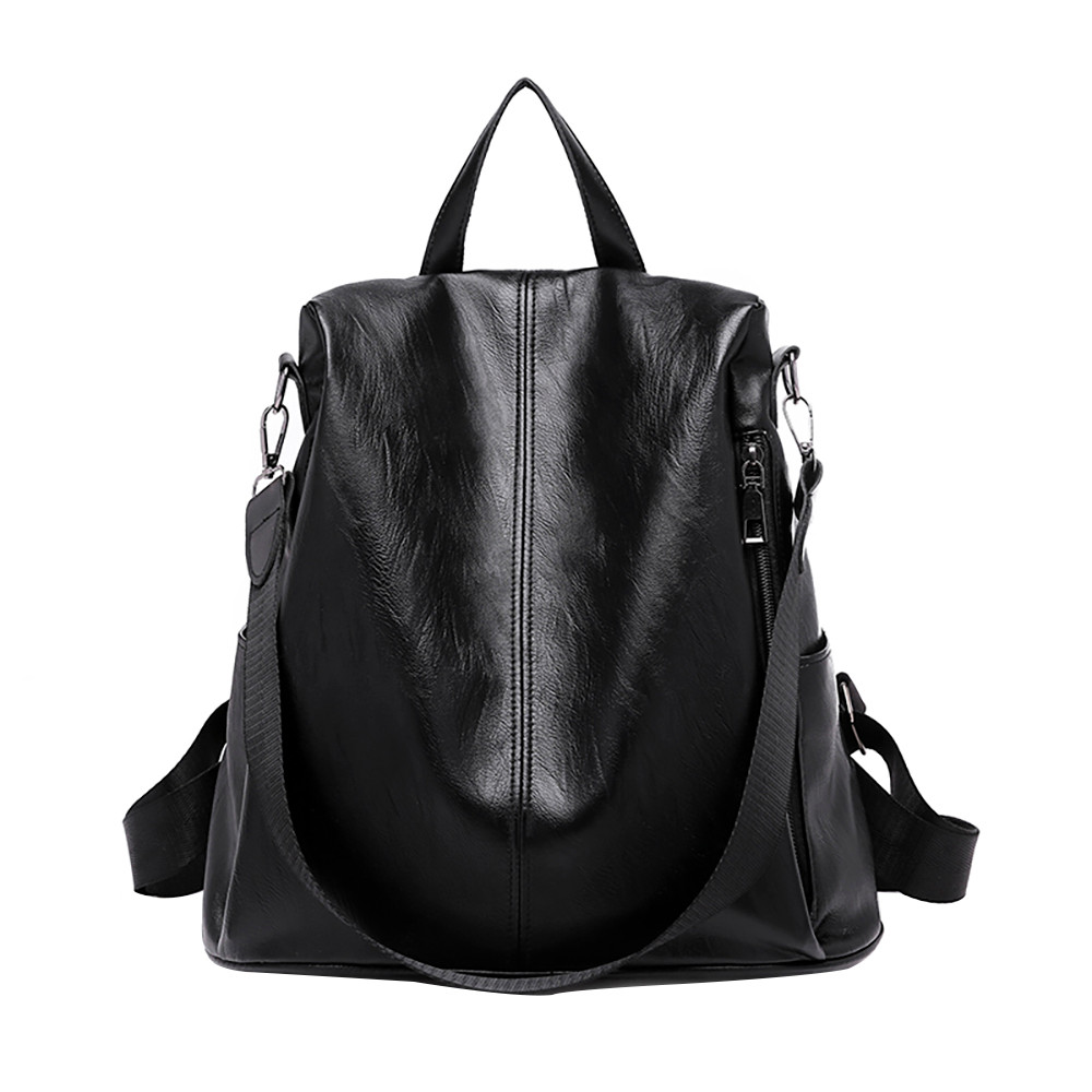 Solid Women Backpack High Quality Youth Leather Backpacks For Teenage Girls Female School Shoulder Hobos Bag 18sep